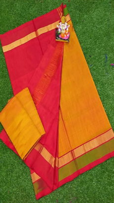 Dark Red & Mustard Yellow Uppada Silk Saree With Triveni Border-yespoho
