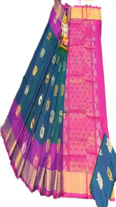 Dark Purple & Dark Pink Uppada Silk Saree With Jamdhani Butta-yespoho
