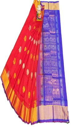Royal Blue & Dark Red Uppada Silk Saree With Jamdhani Butta-yespoho