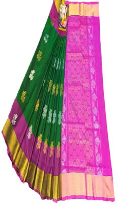 Pink & Bottle Green Uppada Silk Saree With Jamdhani Butta-yespoho