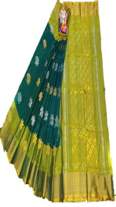 Light Green & Bottle Green Uppada Silk Saree With Jamdhani Butta-yespoho