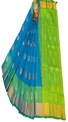 Light Green & Teal Blue Uppada Silk Saree With Jamdhani Butta-yespoho