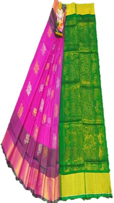 Dark Green & Dark Pink Uppada Silk Saree With Jamdhani Butta-yespoho