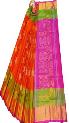 Dark Pink & Bright Orange Uppada Silk Saree With Jamdhani Butta-yespoho