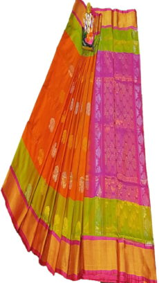 Dark Pink & Bright Orange Uppada Silk Saree With Leaf Jamdhani Butta-yespoho