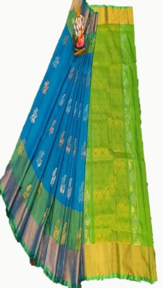 Dark Green & teal Blue Uppada Silk Saree With Leaf Jamdhani Butta-yespoho