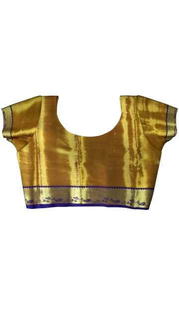 Gold & Lavender Mixed Tissue Silk Saree with Unstitched Blouse
