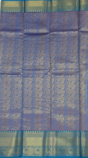 Blue Pink & Blue Korvai design Kanchipuram Semi Silk Saree
