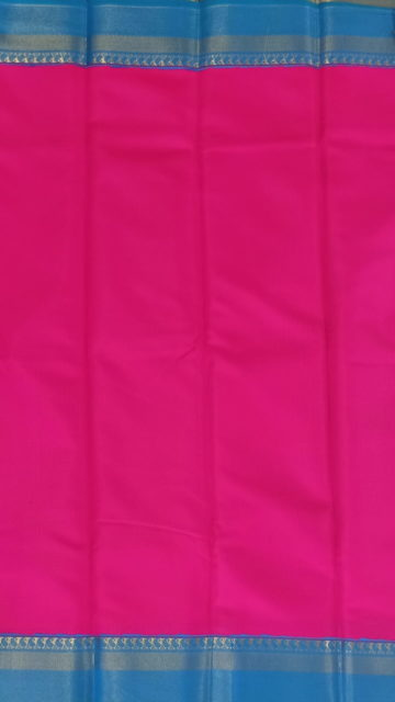 Yespoho Pink & Blue Korvai design Kanchipuram Semi Silk Saree