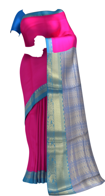 Pink & Blue Korvai design Kanchipuram Semi Silk Saree Aashadam Sale Yespoho Sarees New Arrivals Kanchipuram Silk Sarees