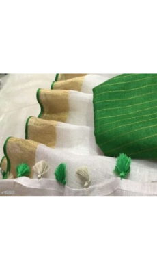 Bottle Green & White Linen Saree-yespoho