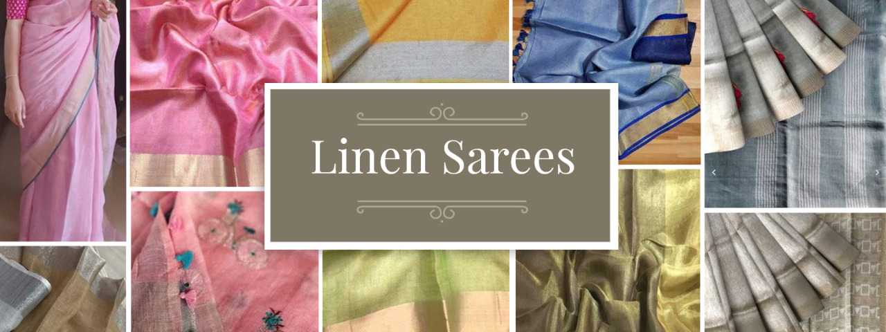 Linen Sarees Collections-yespoho