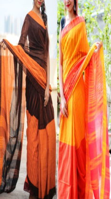 Brown & Yellow Combo Khadi Sarees-yespoho