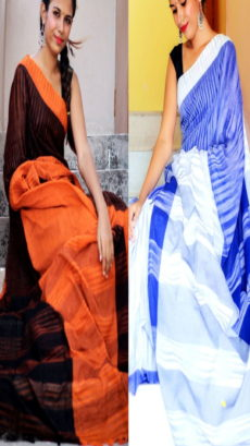 Orange & Light Blue Combo Khadi Sarees-yespoho