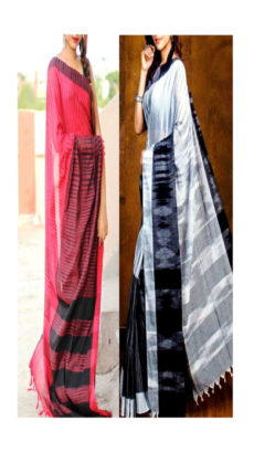 Light Red & Grey Combo Khadi Sarees-yespoho