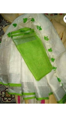 Pista Green & White Linen Saree-yespoho