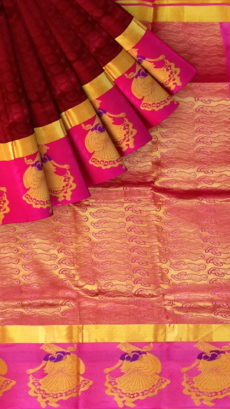 Brown & Pink Kanchipuram Semi Silk Saree-yespoho