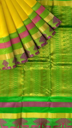 Bright Yellow & Green Kanchipuram Semi Silk Saree-yespoho