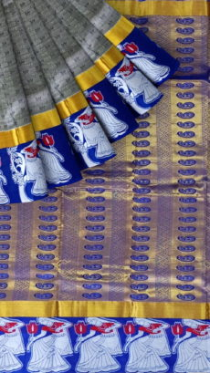 Grey & Navy Blue Kanchipuram Semi Silk Saree-yespoho