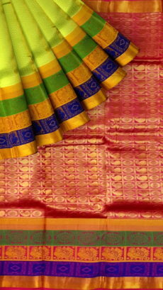 Pista Green & Magenta Kanchipuram Semi Silk Saree-yespoho