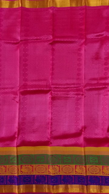 Shop Pista Green & Magenta Kanchipuram Semi Silk Saree Online