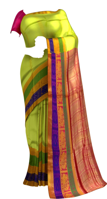 Pista Green & Magenta Kanchipuram Semi Silk Saree Yespoho Sarees New Arrivals Kanchipuram Silk Sarees