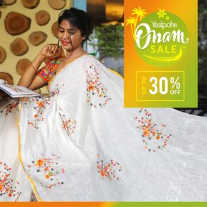 White & Rani Sweet Pot Jamdani Saree-yespoho