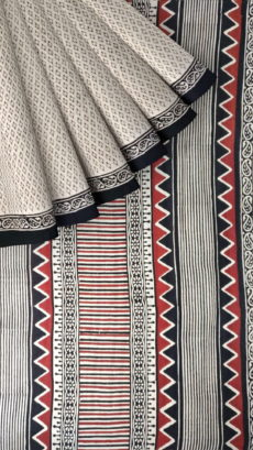 White & Black Hand Block Print Saree-yespoho