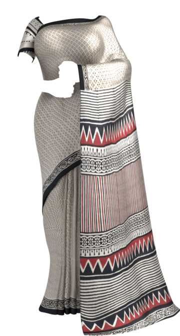 White & Black Hand Block Print Saree Cotton Sarees Thanksgiving Winter Sale Yespoho Sarees Handpicked Collections New Arrivals