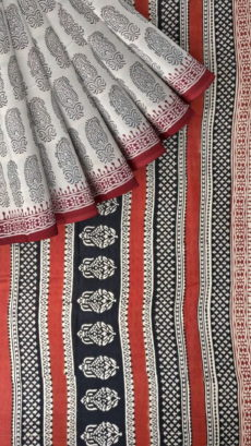 Brown & Black Hand Block Print Saree-yespoho