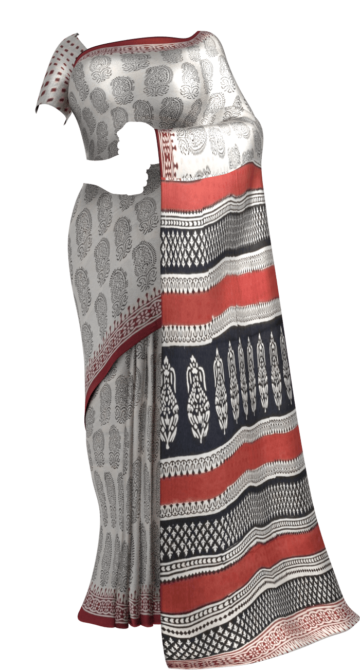 Brown & Black Hand Block Print Saree Cotton Sarees Diwali Sale Yespoho Sarees Handpicked Collections New Arrivals