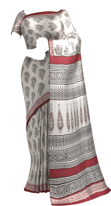 OffWhite & Dark Maroon Hand Block Print Saree Cotton Sarees Thanksgiving Winter Sale Yespoho Sarees Handpicked Collections New Arrivals