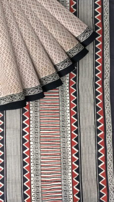Black & White Hand Block Print Saree-yespoho