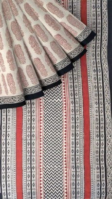 Cream & Brown Hand Block Print Saree-yespoho