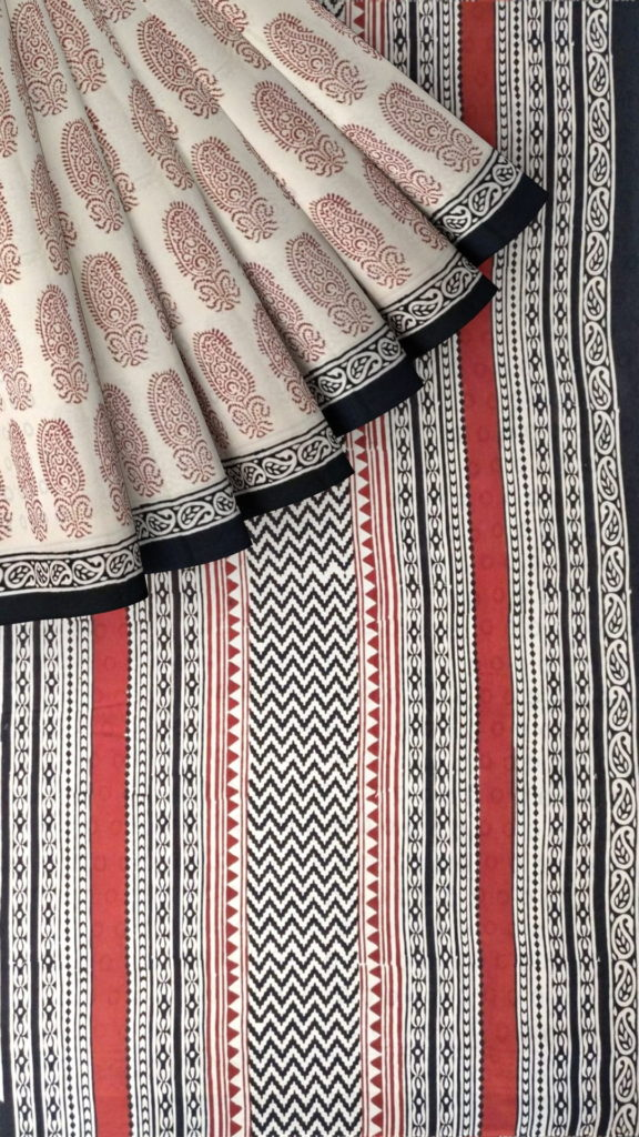 Cream & Brown Hand Block Print Saree