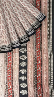 Black & Cream Hand Block Print Saree-yespoho