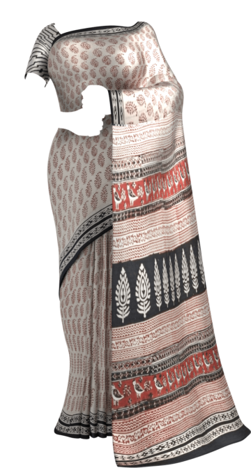 Black & Cream Hand Block Print Saree Cotton Sarees Saree25 Yespoho Sarees Handpicked Collections