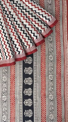 Dark Brown & White Hand Block Print Saree-yespoho