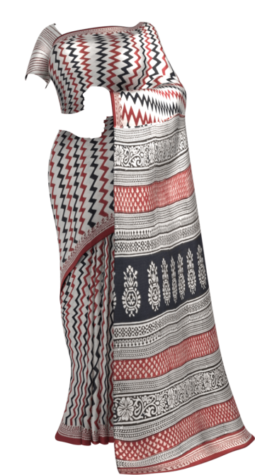Dark Brown & White Hand Block Print Saree Cotton Sarees Thanksgiving Winter Sale Yespoho Sarees Handpicked Collections New Arrivals