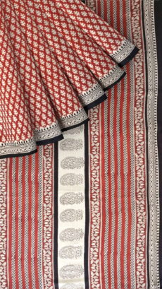 Dark Red & White Hand Block Print Saree-yespoho