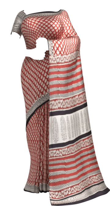 Dark Red & White Hand Block Print Saree Cotton Sarees Thanksgiving Winter Sale Yespoho Sarees Handpicked Collections New Arrivals