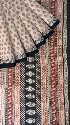 Dark Red & Black Hand Block Print Saree-yespoho