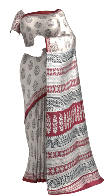 Magenta & Beige Hand Block Print Saree Cotton Sarees Thanksgiving Winter Sale Yespoho Sarees Handpicked Collections New Arrivals