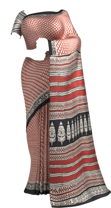 Red & Black Hand Block Print Saree Cotton Sarees Thanksgiving Winter Sale Yespoho Sarees Handpicked Collections New Arrivals