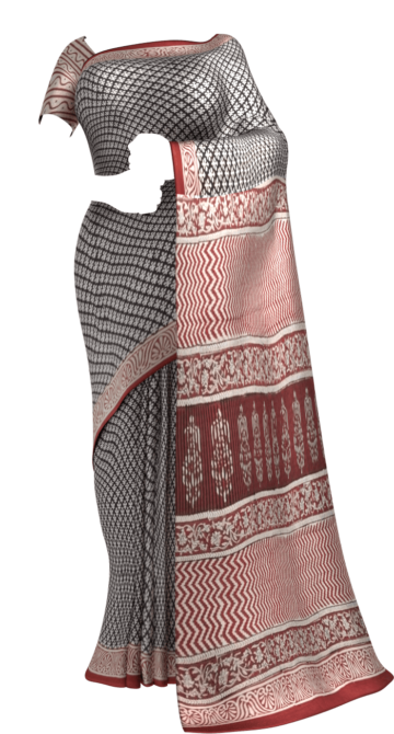 Beige & Dark Red Hand Block Print Saree Cotton Sarees Thanksgiving Winter Sale Yespoho Sarees Handpicked Collections New Arrivals