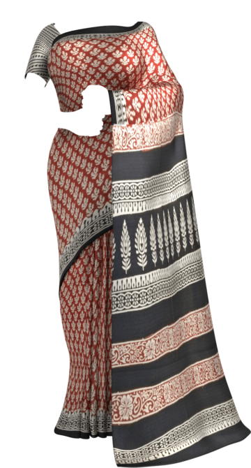Dark Red Hand Block Print Saree Cotton Sarees Thanksgiving Winter Sale Yespoho Sarees Handpicked Collections New Arrivals