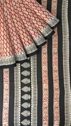 Dark Red & OffWhite Hand Block Print Saree-yespoho