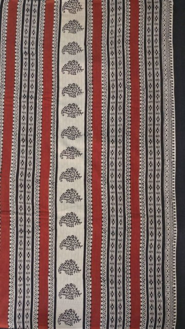 Beige Dark Brown & Beige Hand Block Print Saree
