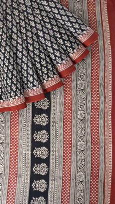 Dark Maroon & Cream Hand Block Print Saree-yespoho