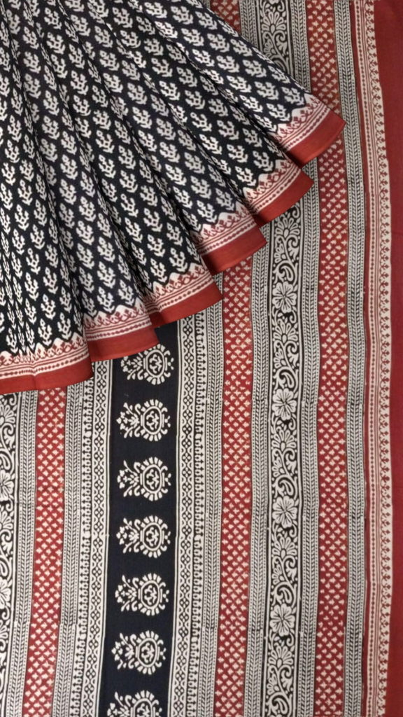 Dark Maroon & Cream Hand Block Print Saree